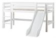 Hoppekids Premium Halvhøj seng - Halvhøj seng med lige stige og rutsjebane - 90x200 cm
