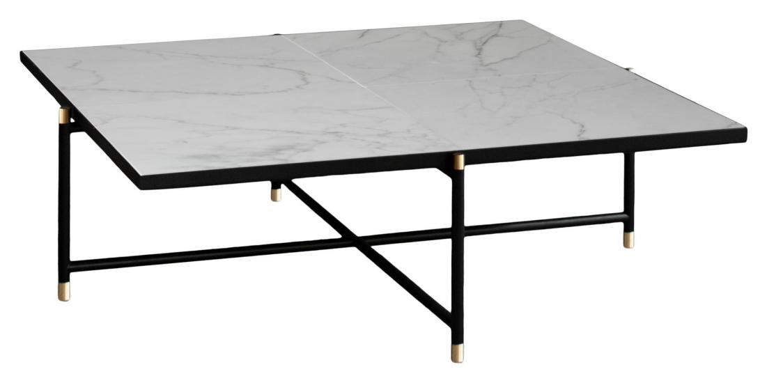 HANDVÄRK Sofabord 92x92 - Hvid Marmor, messing