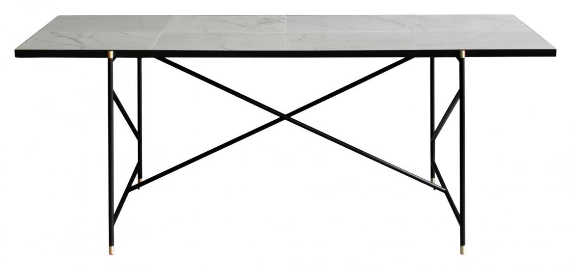 HANDVÄRK Spisebord 184x96 - Hvid Marmor, messing