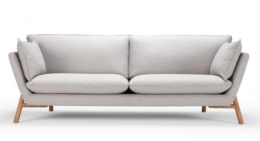 Kragelund Hasle 3-pers. sofa Grå Stof, massive egeben