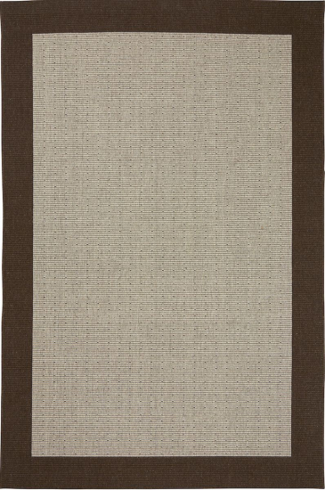 Casablanca fladvævet tæppe m. brun kant - 200x300