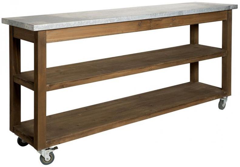Ib Laursen - Konsolbord m. Zink top på hjul - Konsolbord med zinkbordplade