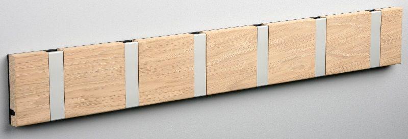 KNAX knagerække - Eg - 6 aluknager - Knagerække med 6 aluminiumsknager
