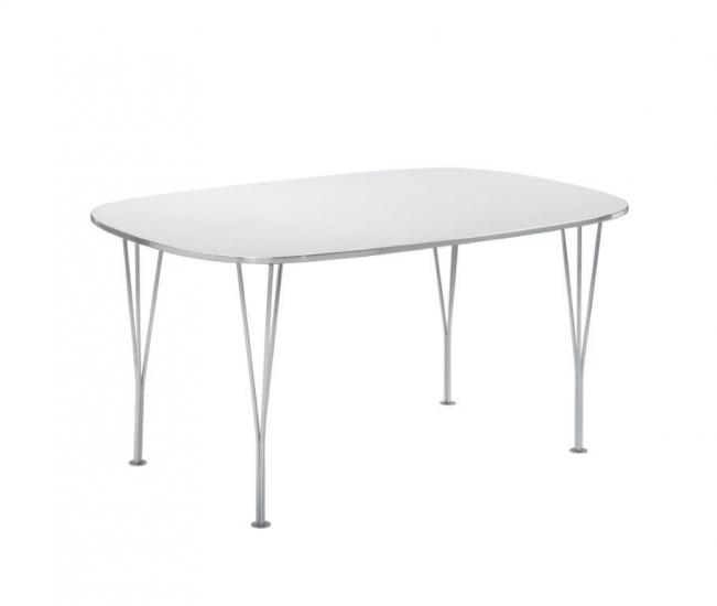 Betina Spisebord med tillægsplader - hvid  - Hvidt spisebord med krom ben - 152 cm