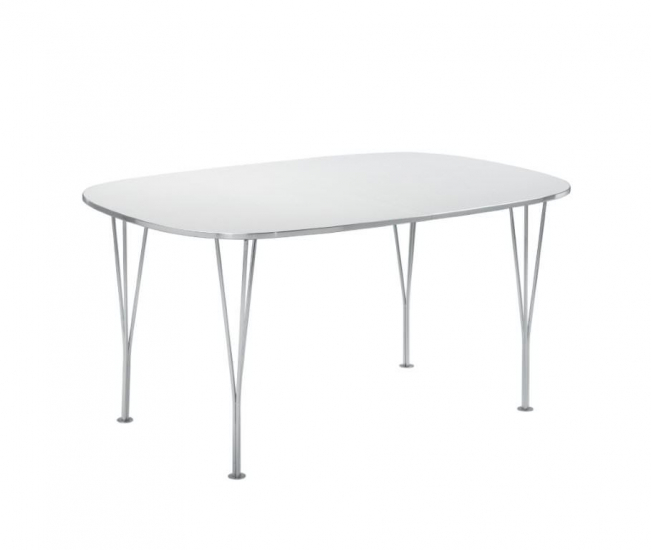 Betina Spisebord med tillægsplader - hvid - Hvitt spisebord med krom ben - 152 cm