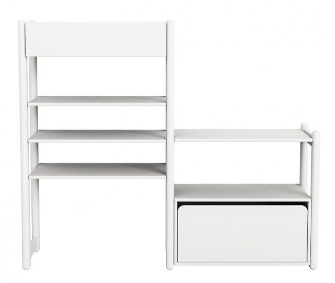 Flexa - Shelfie Combi 1 - Reol - Hvid - Reol med 1 organizer, 4 hylder og 1 skuffe