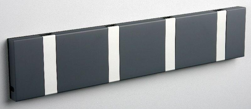 KNAX knagerække - Antracit - 4 aluknager - Knagerække med 4 aluminiumsknager