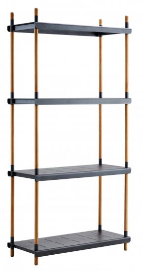 Cane-line - Frame Reolsystem m/4 hylder - Grå - Cane-line til ind og udendørs