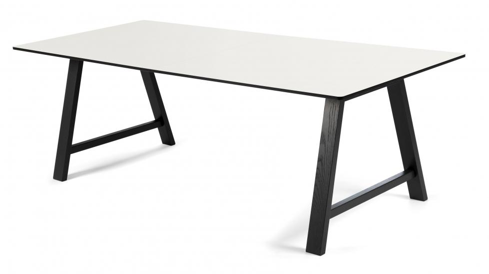 Andersen T1 Spisebord m. udtræk i sort lakeret eg, 160cm