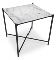 HANDVÄRK - Sidebord 48x48 - Hvid Marmor, sort stel