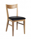 Shane Spisebordsstol - lakeret eg - Spisebordsstol m.sæde i sort læder-look