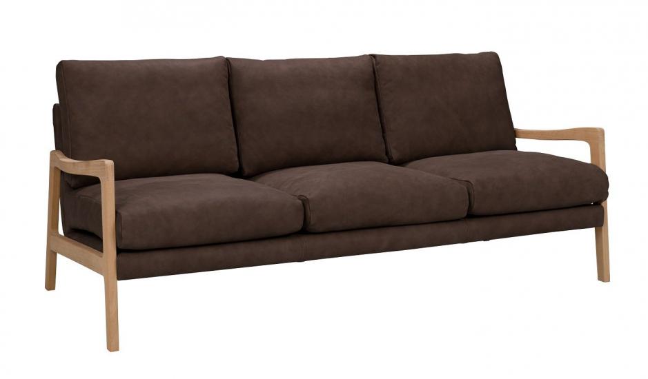 Solo 3-pers. Sofa m. ege ben - Mørkebrun Læder