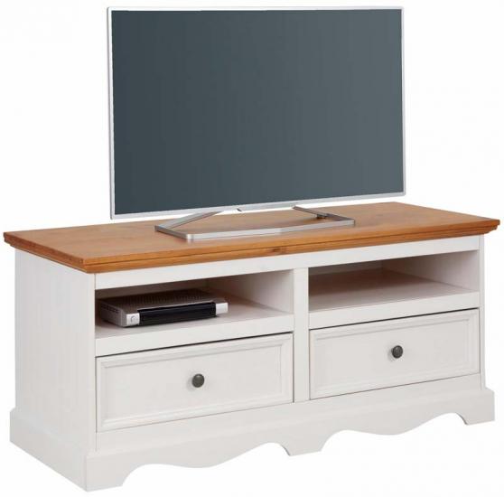 Mie TV-bord hvidpigmenteret/honning fyrretræ - 120    - Hvidpigmenteret TV-bord med træ