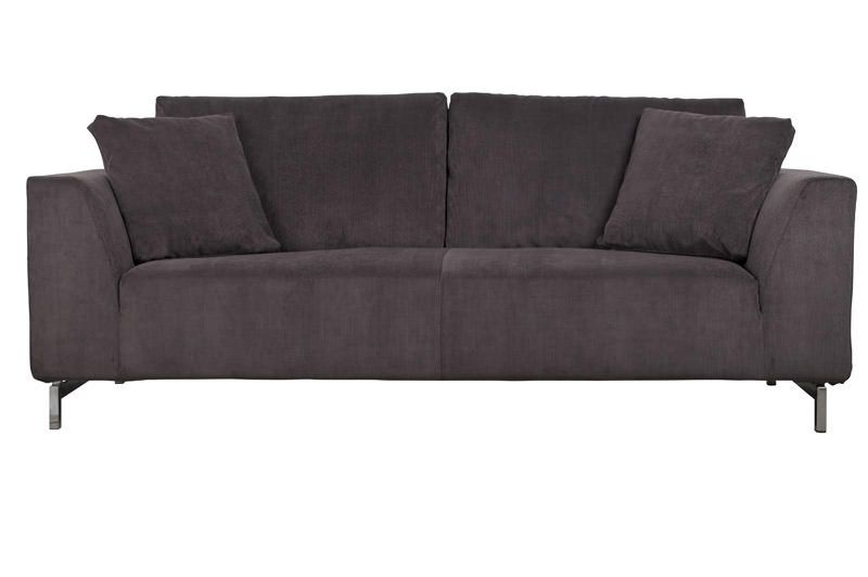 Zuiver Dragon 3-pers. sofa - Mørk grå fløjl - Grå sofa i fløyel