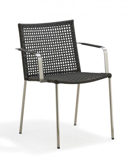 Cane-line - Straw rope Spisebordsstol m/arm - Grå - Cane-line Havestol udendørs