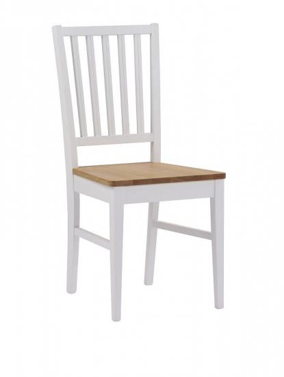 Filippa Spisebordsstol - Hvid m. Egetræssæde - Spisebordsstol i hvidlakeret eg