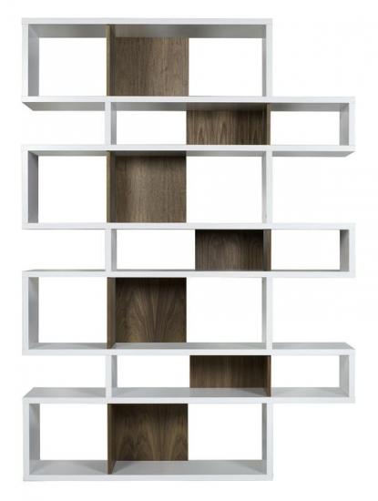 Temahome - London Reol - Hvid/Valnød H:220 - Smart reol i hvid/valnøddelook m. syv sektioner