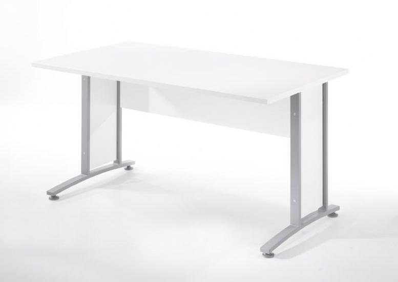 Prima Skrivebord - Hvid 150cm - Skrivebord i hvid m. sølvgrå stål - 150 cm