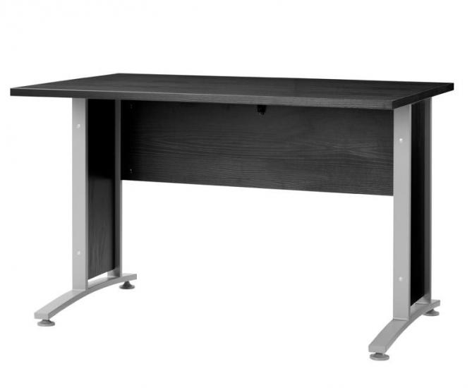 Prima Skrivebord - Skrivebord i sort ask m. sølvgrå stål - 120 cm