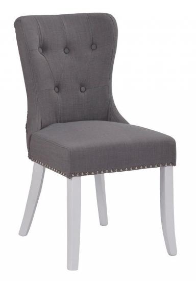 Ina Spisebordsstol - Grå - Hvid stol med gråt sæde