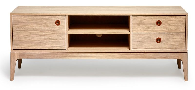 Mavis - Höllviken Tv-bord -Egefinér - Hvidpigmenteret TV-bord