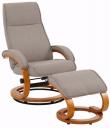 Paprika Hvilestol med skammel Beige Stof - Hvilestol med beige stof
