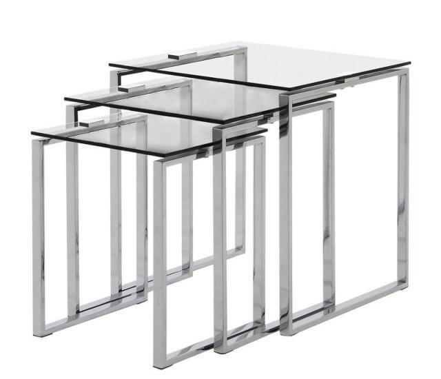 Toftdal Sofabordssæt - Indskudsbord sæt m. 3 stk, glasplade