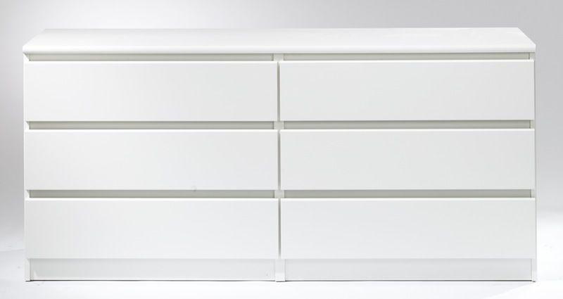 Naia Kommode - Hvid m/6 skuffer