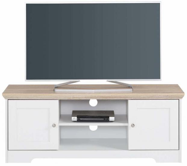 Nancy TV-bord Hvid, Ege-look - 45x120