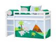 Hoppekids - Dinosaur Forhæng 160x70 - Blå/grøn - Dinosaur forhæng til halvhøj seng 160x70