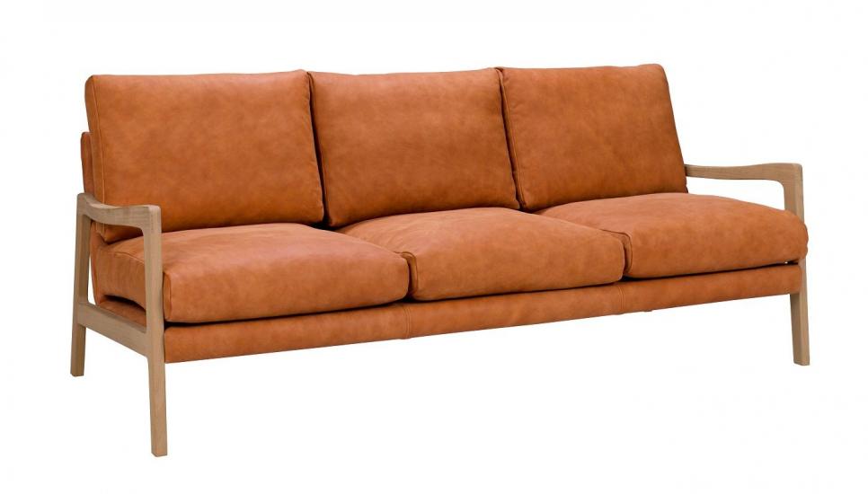 Solo 3-pers. Sofa m. ege ben - Lysebrun Læder
