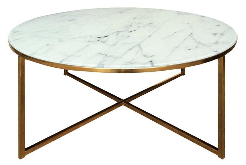 Filippa Sofabord i hvid m/gyldent stel Ø80