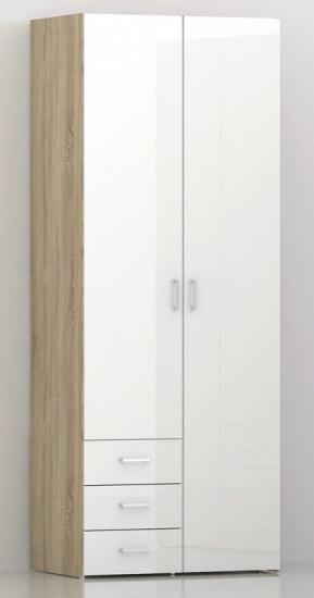 Space Garderobeskab - Lys træ/Højglans - Garderobeskab i lyst træ-look med låger i hvid højglans