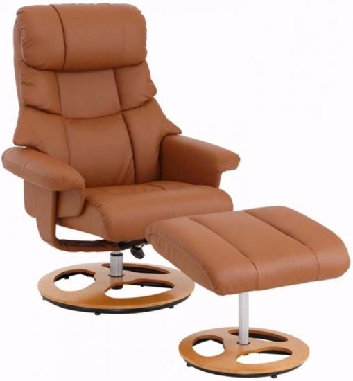 Tony Hvilestol med skammel Cognac PU    - Brun hvilestol med skammel