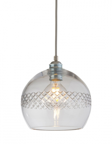 Ebb&Flow - Check med. stripe Krystal Rowan pendel m. Sølv Ø22