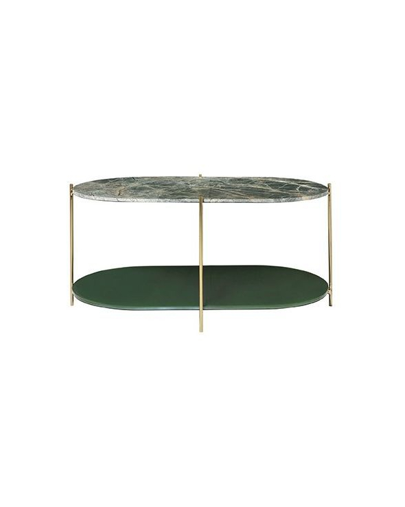Cozy Living Siff Sofabord oval - Forest Green/Messing, 100x55