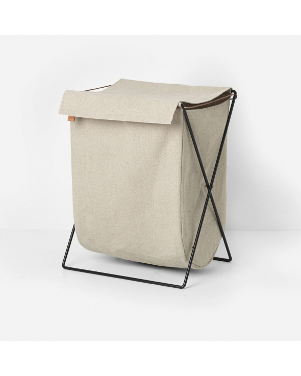 Ferm Living - Herman Vasketøjskurv m. canvas - Sort/Beige
