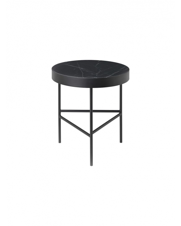 Ferm Living - Marmor sofabord - Sort Marquina - Ø40