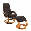 Paprika Hvilestol med skammel Brun microfiber    - Brun hvilestol med skammel