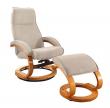Paprika Hvilestol med skammel Creme microfiber - Cremefarvet hvilestol med skammel