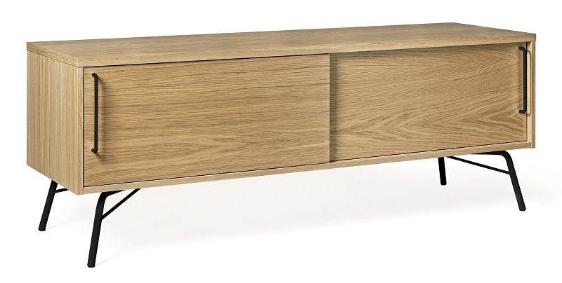 Woodman - Ashburn Tv-bord - Sort stel - TV-bord med skydelåger