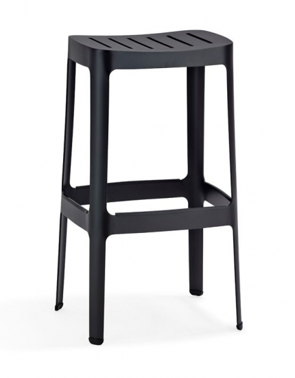 Cane-line - Cut - H76 Barstol - Sort - Cane-line Sort barstol i aluminium