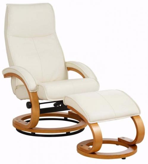 Paprika Hvilestol med skammel Creme Læder