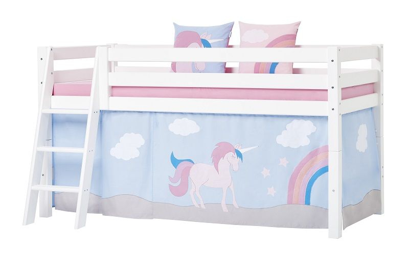 Hoppekids - Unicorn Forhæng 200x90 - Lyseblå - Unicorn forhæng til halvhøj seng 200x90