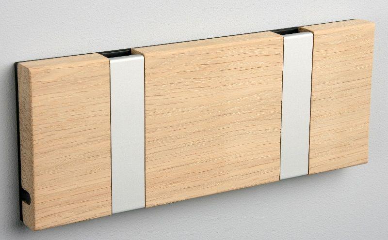 KNAX knagerække - Eg - 2 aluknager - Knagerække med 2 aluminiumsknager