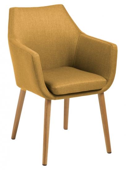 Amada Spisebordsstol - Gul - Spisebordsstol med egetræsben