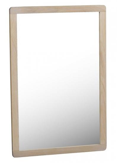 Methro Spejl - hvidvasket matlakeret eg - Spejl med lys træramme