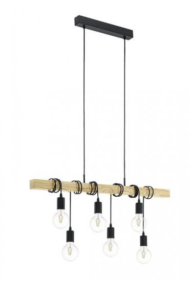 Townshend Loftlampe m. 6 fatninger, Sort, Eg