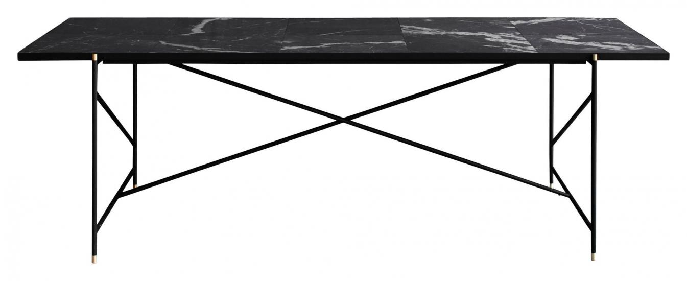 HANDVÄRK Spisebord 230x96 - Sort Marmor, messing