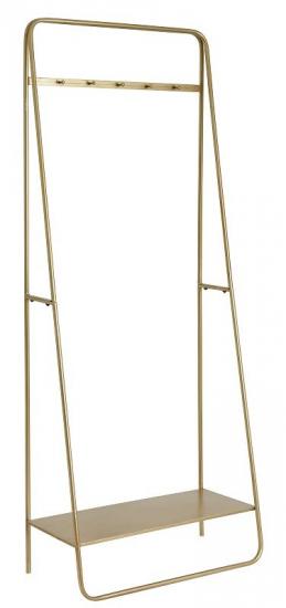 Nordal - Tøjstativ m/hylde - Metal - Guldfarvet tøjstativ